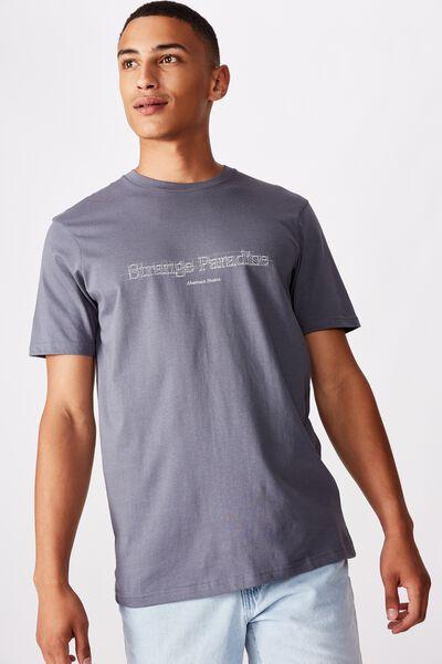 Tbar Text T-Shirt, DUSTY DENIM/STRANGE PARADISE SKETCH