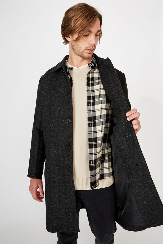 Trench Coat, CHARCOAL HERRINGBONE