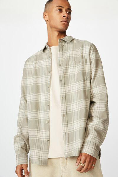 Rugged Long Sleeve Shirt, GREY ECRU CHECK