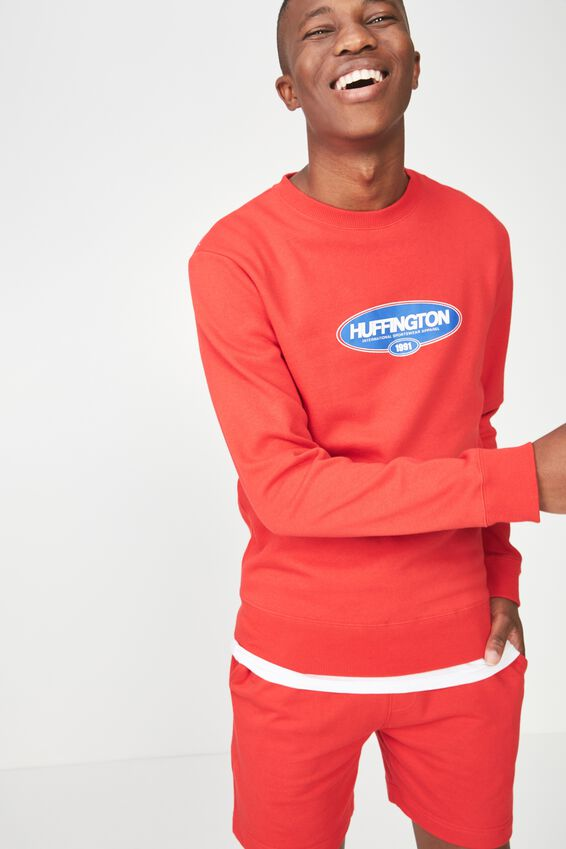 Crew Fleece 2, STRONG RED/HUFFINGTON SPORTSWEAR