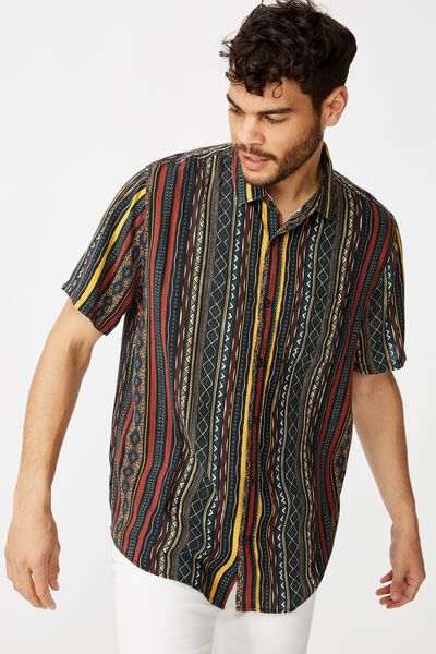 91 Short Sleeve Shirt, MULTI COL VERTICAL TRIBAL