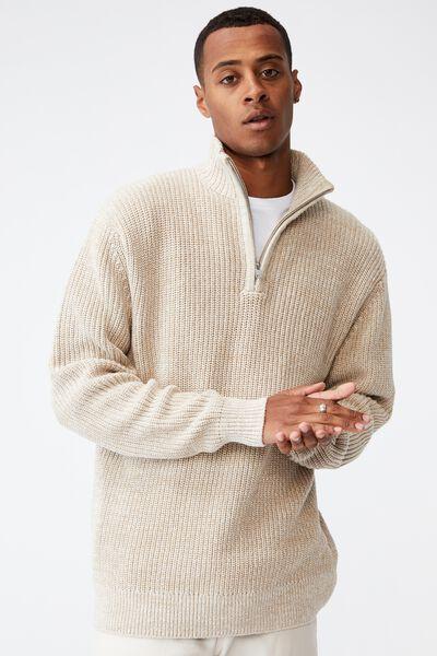 Quarter Zip Knit, SAND MARLE