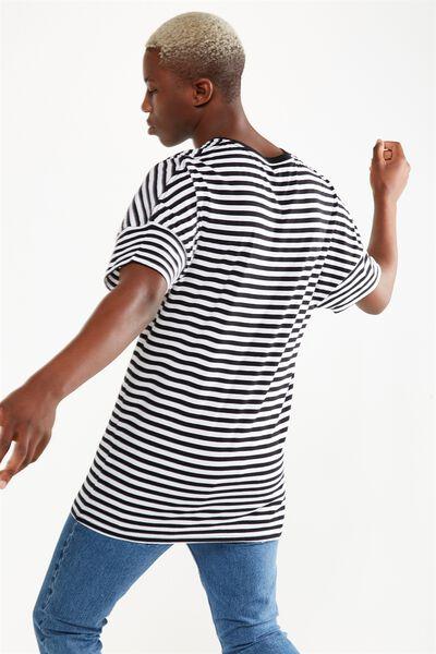 Drop Shoulder Longline, BLACK/WHITE STRIPE