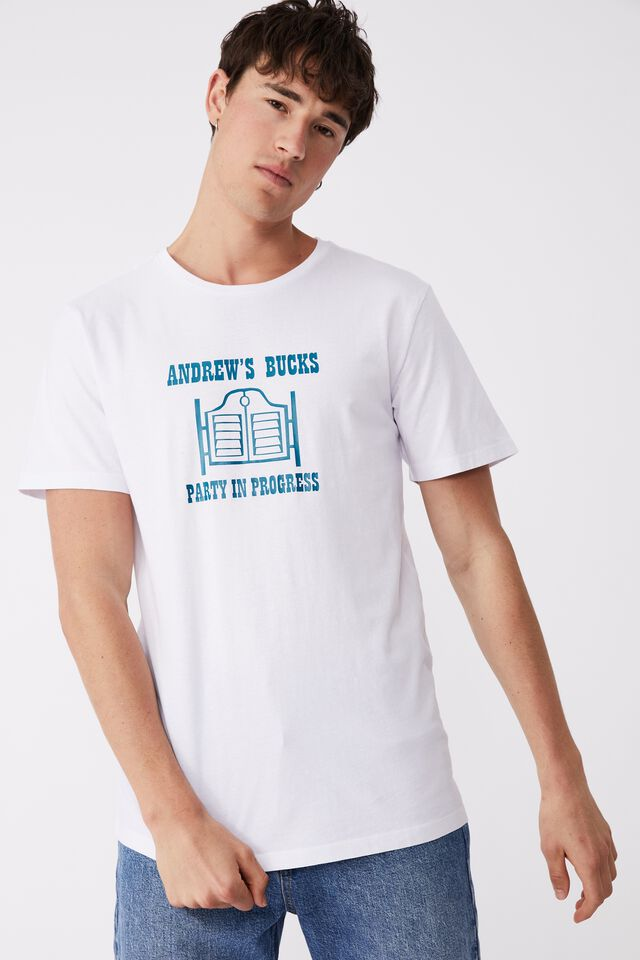 Essential Crew T-Shirt Party Personalised, WHITE/PARTY IN PROGRESS