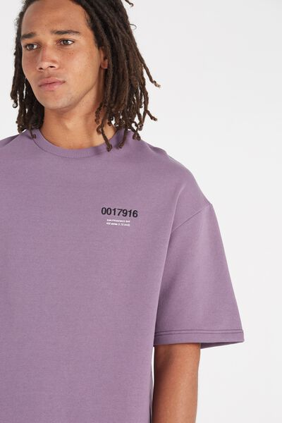 Among Equals Drop Shoulder Fleece Tee, PURPLE DAYS/SAN FRAN BAY