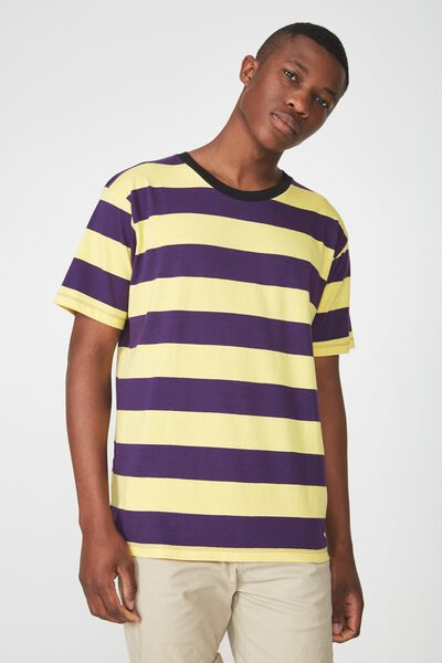 Downtown Loose Fit Tee, YELLOW/DEEP PURPLE BOLD STRIPE