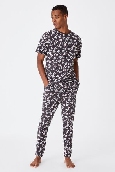 Lounge Collab Pj Drake, LCN WB BUGS BUNNY FACE PRINT - WASHED BLACK