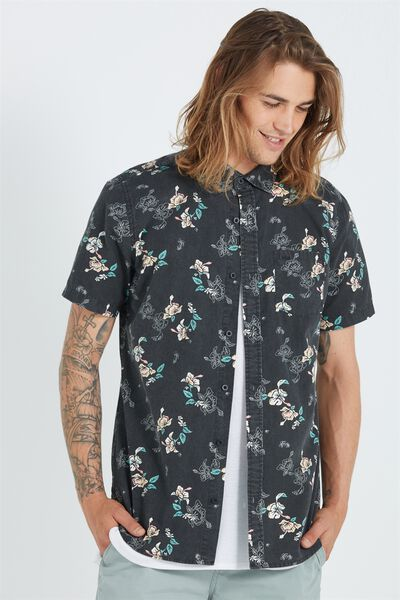 Sunset Short Sleeve Shirt, BLACK FLORAL