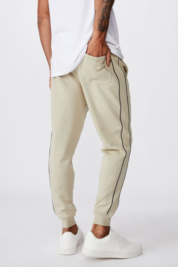 Trippy Slim Trackie, OATMEAL/PIPING