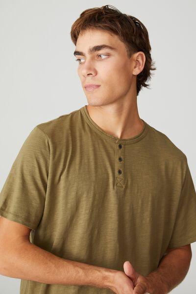 Slub Henley T-Shirt, JUNGLE KHAKI