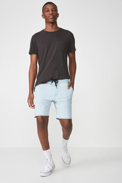 Customised Denim Short, BLEACHED BLUE