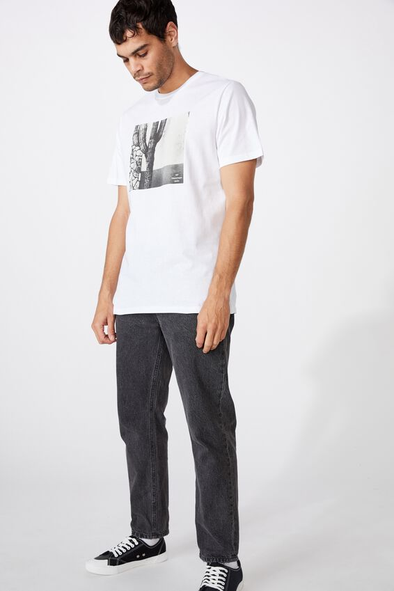 Tbar Photo T-Shirt, WHITE/CACTUS