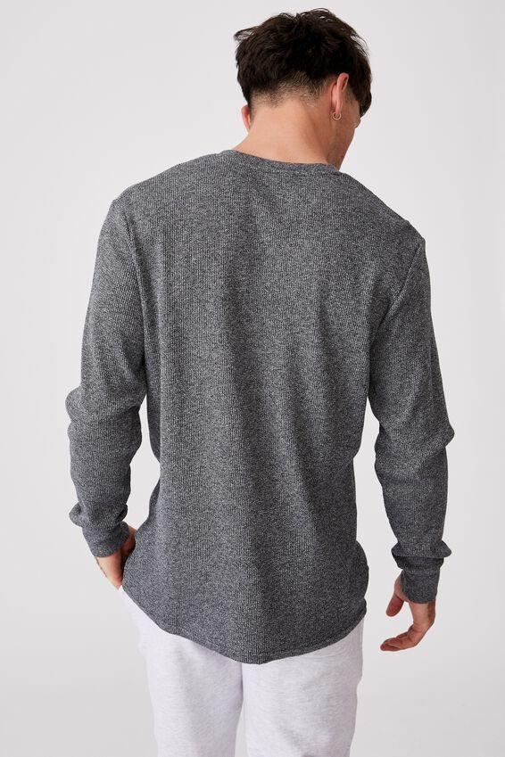 Waffle Long Sleeve T-Shirt, NAVY TWISTED YARN