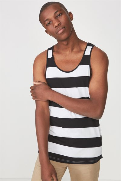 Tbar Anchor Tank, WHITE/BLACK LARGE STRIPE