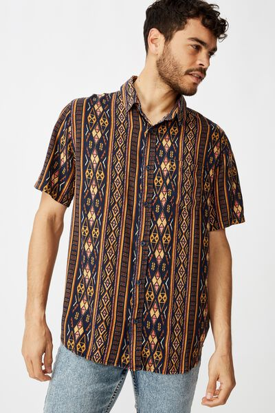 91 Short Sleeve Shirt, NAVY VERT TRIBAL