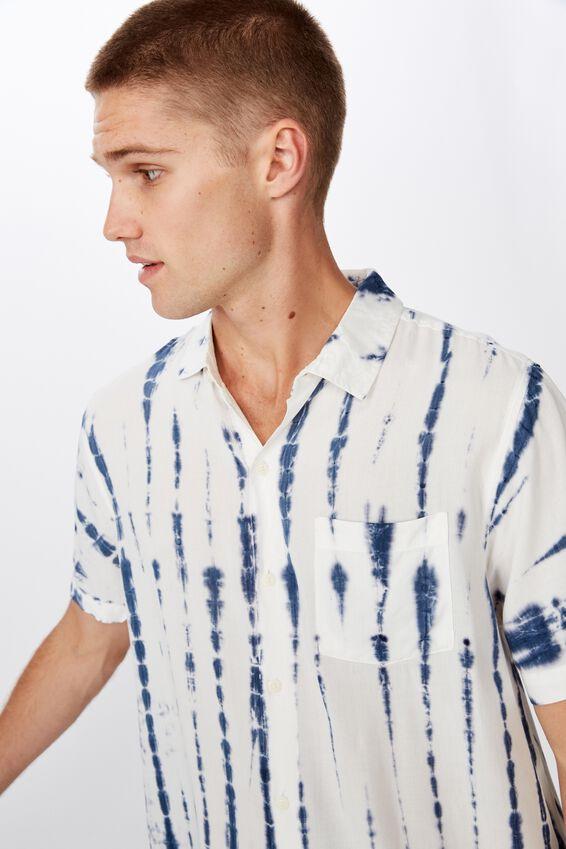 91 Short Sleeve Shirt, WHITE INDIGO VERTICAL TYEDYE