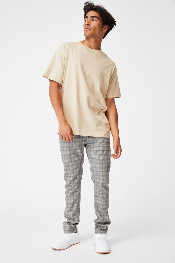 Skinny Stretch Chino, GREY MUSTARD CHECK