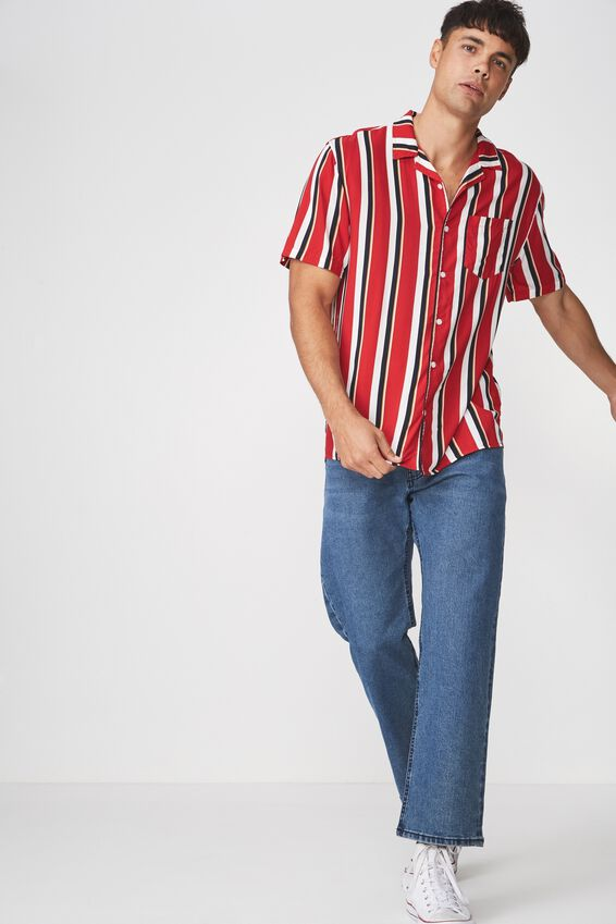 Festival Shirt, RED WHITE NAVY STRIPE