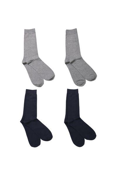 Multi Pack Staple Socks, CHARCOAL/NAVY