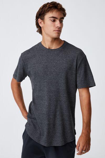 Longline Scoop Waffle T-Shirt, BLACK MARLE