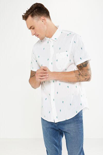 Vintage Prep Short Sleeve Shirt, WHITE CACTUS PRINT