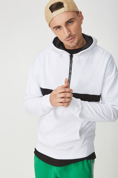 Drop Shoulder Pullover Fleece, WHITE/BLACK/UNTITLED NO 7