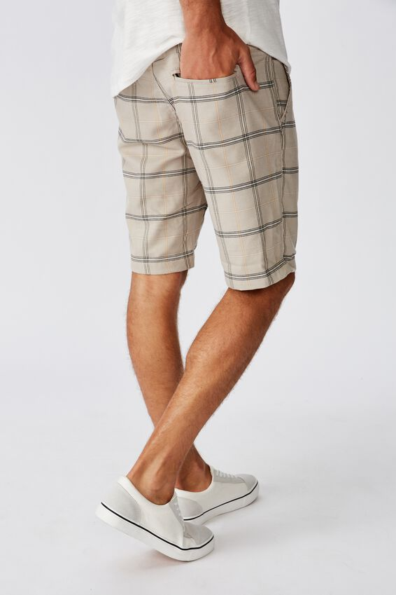 Washed Chino Short, STONE CHECK