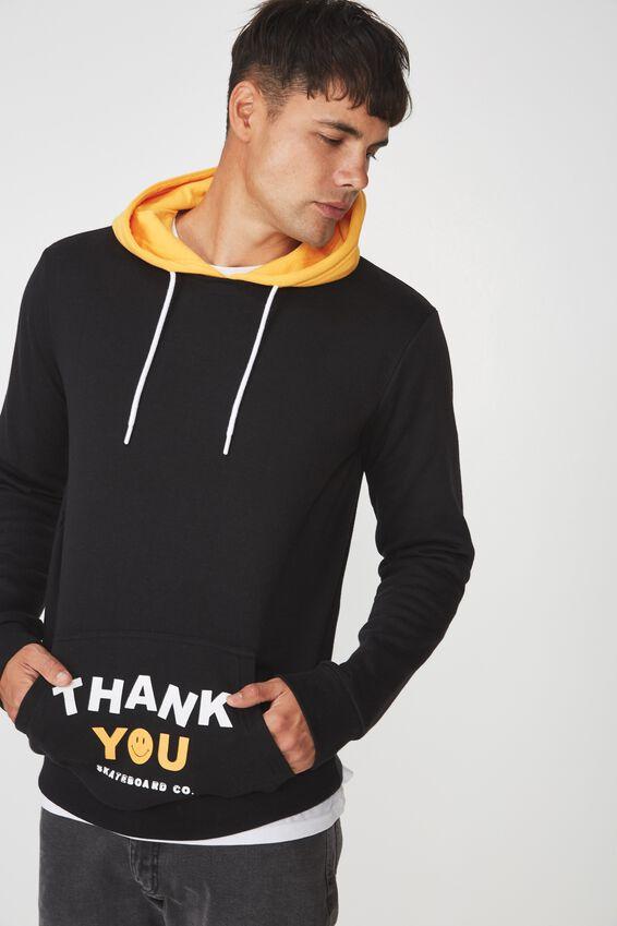 Fleece Pullover 2, BLACK/ZINNIA YELLOW/THANK YOU