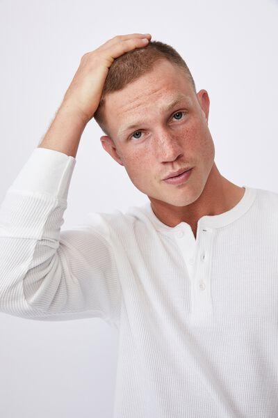 Henley Waffle Long Sleeve T-Shirt, VINTAGE WHITE