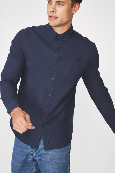 Premium Linen Cotton Long Sleeve Shirt, NAVY