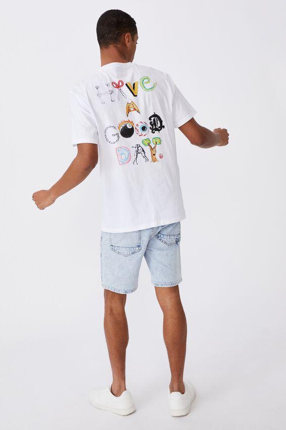 Tbar Art T-Shirt, WHITE/HAVE A GOOD DAY