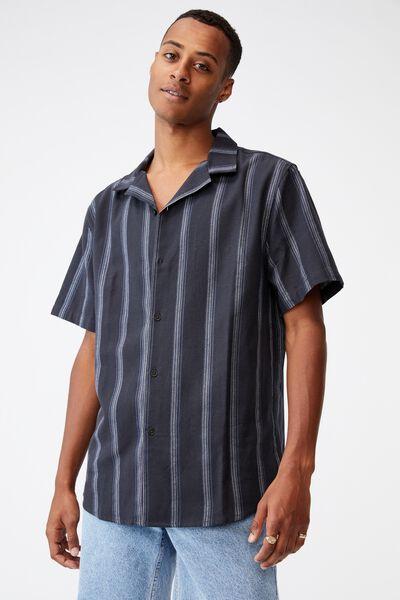 Textured Short Sleeve Shirt, WASHED BLACK STRIPE