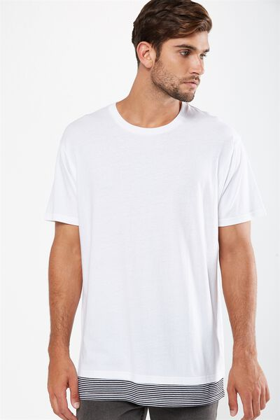 Double Block Tee, WHITE/BLACK/WHITE MICRO STRIPE/BRKLYN CENTRE