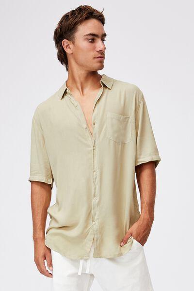 Cuban Short Sleeve Shirt, SAGE