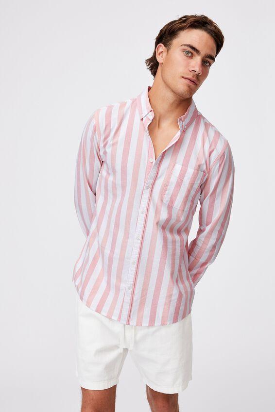 Brunswick Shirt 3, WHITE RED BOLD STRIPE