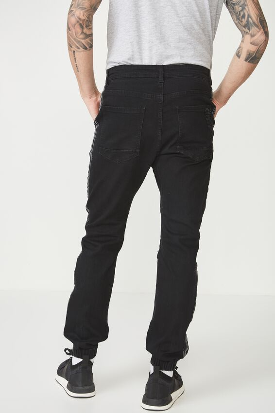 Slim Denim Jogger, BLACK SIDE STRIPE MOTO + RIPS