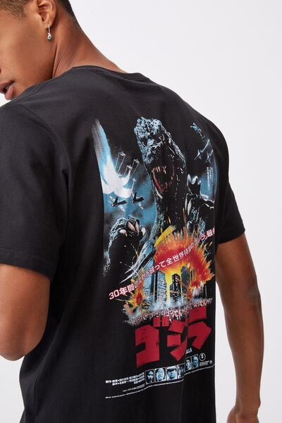 Tbar Collab Movie And Tv T-Shirt, LCN GOD WASHED BLACK/GODZILLA - TERROR POSTER