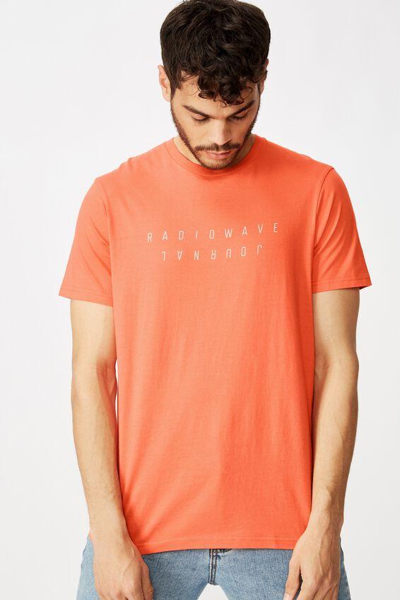 Tbar Text T-Shirt, CHERRY ORANGE/RADIOWAVE JOURNAL FLIPPED