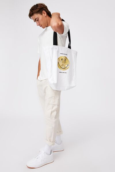 Special Edition Shoulder Tote, LCN SMI SMILEY FORTUNE/WHITE