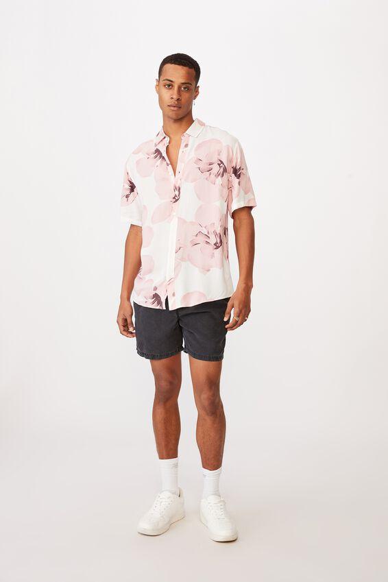 Short Sleeve Resort Shirt, INVERT WHITE DUSTY PINK
