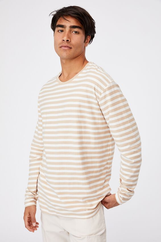 Brunswick Stripe Long Sleeve T-Shirt, CLAY STONE/VINTAGE WHITE 50/50 STRIPE