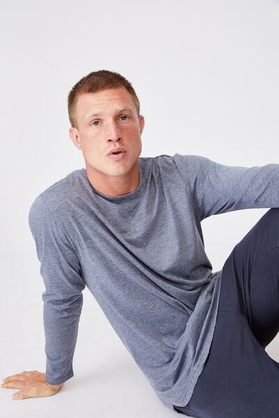 Longline Scoop Long Sleeve T-Shirt, DUSTY DENIM