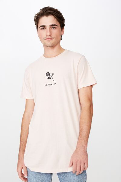 Longline Scoop Hem Tee, ROSE DUST/RIOT MINDS