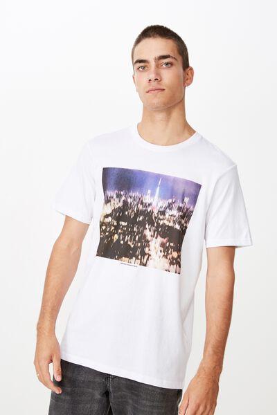 Tbar Photo T-Shirt, WHITE/CITY BLURRED