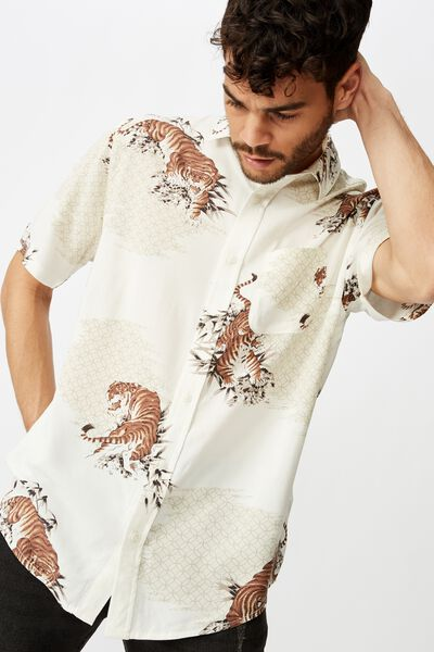 Short Sleeve Resort Shirt, VINTAGE WHITE LANDSCAPE