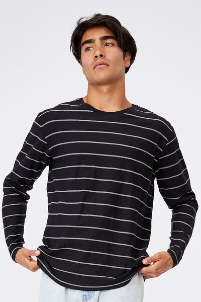 Brunswick Stripe Long Sleeve T-Shirt, BLACK/VINTAGE WHITE TRIPLE STRIPE