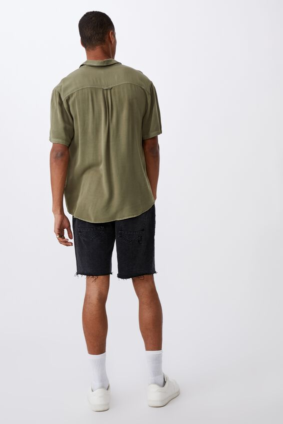 Cuban Short Sleeve Shirt, WASHED KHAKI