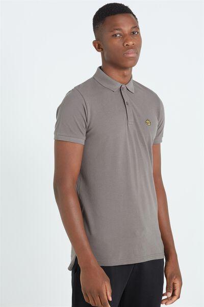 Short Sleeve Icon Polo, CHARCOAL/BURGER