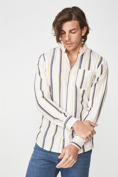 Brunswick Shirt 3, WHITE NAVY YELLOW STRIPE