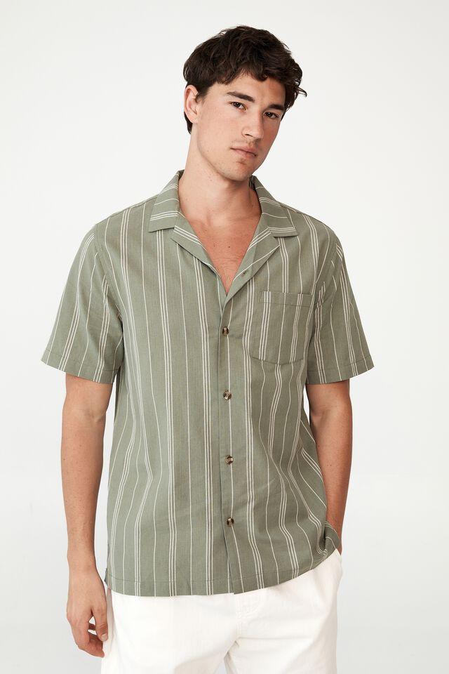 Riviera Short Sleeve Shirt, STEEL GREEN STRIPE